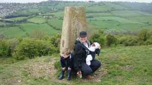 Isla's first time up Solsbury Hill.